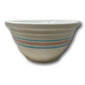 McCoy Pottery Ovenware Pink Blue Mixing Bowl 12